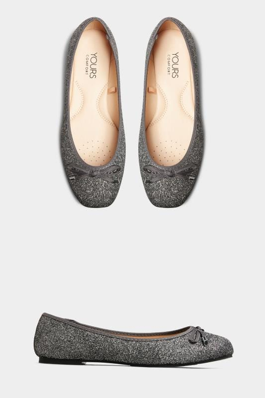 Grey Glitter Bow Ballerina Pumps In Extra Wide Fit