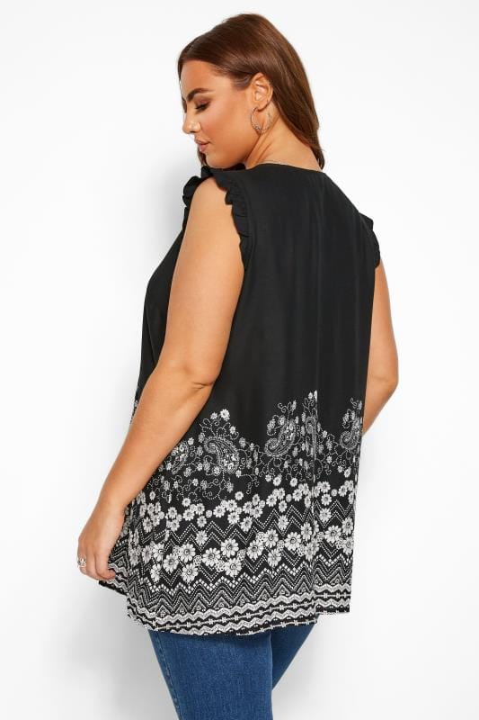 Black Daisy Border Print Sleeveless Blouse
