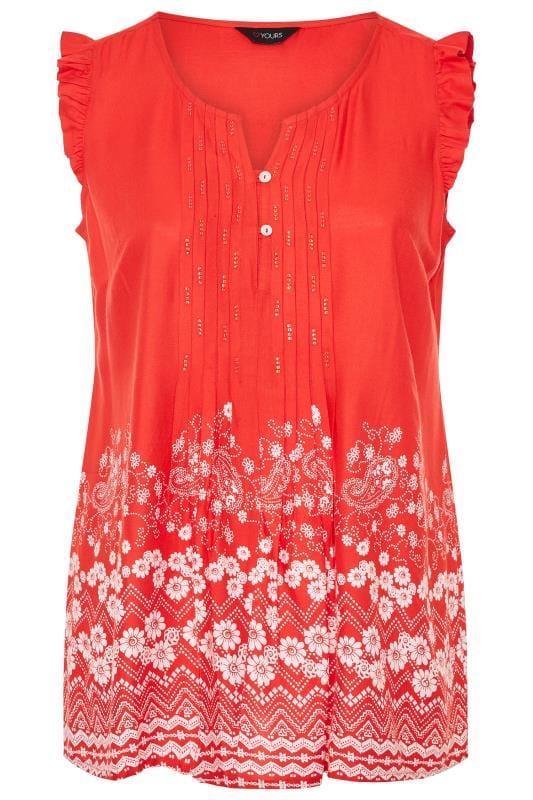 Red Daisy Border Print Sleeveless Blouse