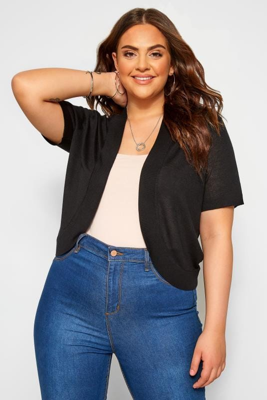Plus Size Beauty Black Bow Detail Shrug