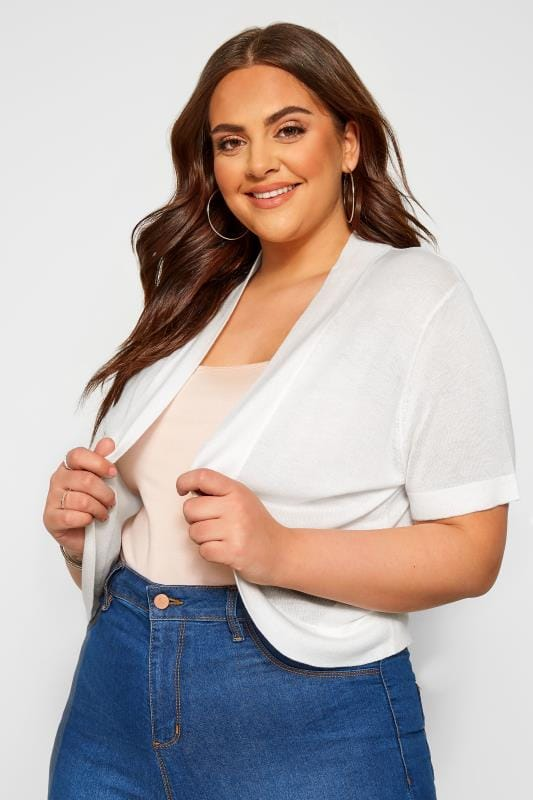Plus Size Beauty White Bow Detail Shrug