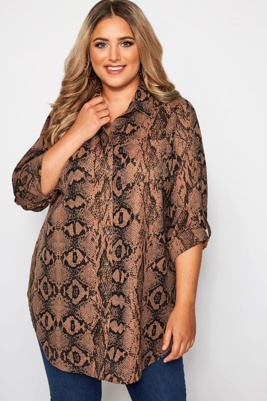 Plus Size Blouses & Shirts Rust Snake Print Oversized Shirt