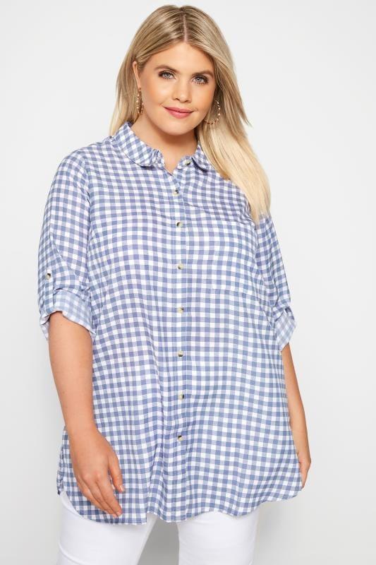 Bluzka koszulowa w niebieską kratkę