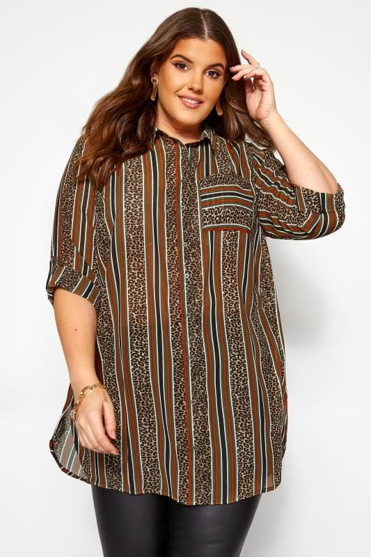 Plus Size Shirts Multi Animal Print Striped Oversized Boyfriend Shirt