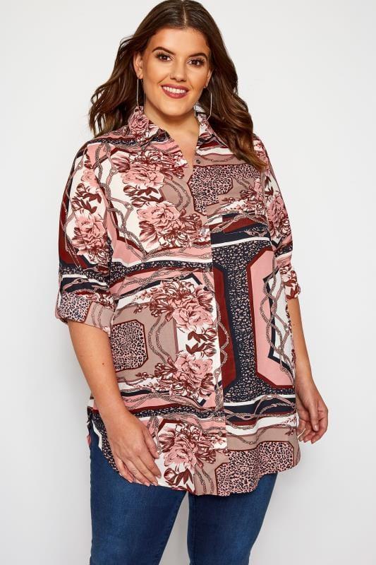 Plus Size Blouses & Shirts Pink Scarf Print Boyfriend Shirt