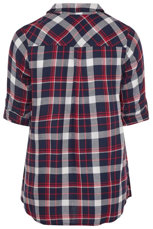 Red & Navy Check Boyfriend Shirt