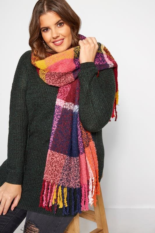 Plus Size Scarves Multi Bright Check Boucle Scarf