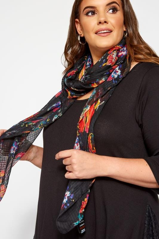 Yours Black Floral Scarf