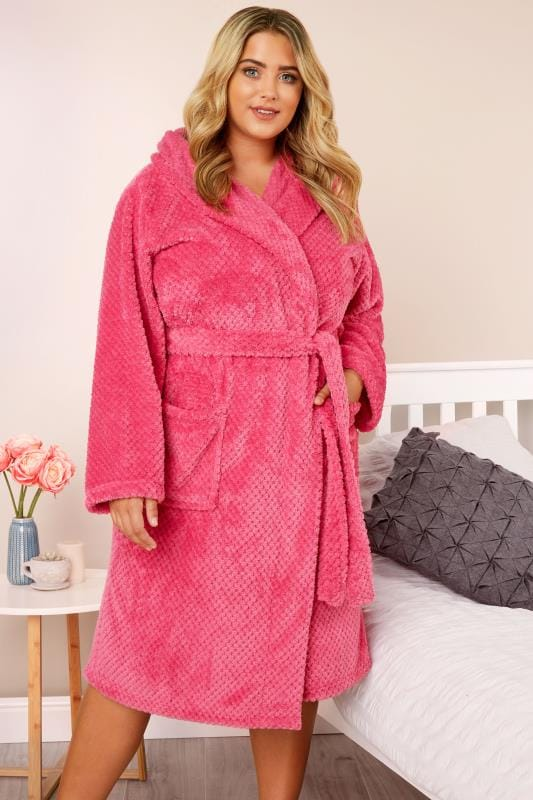 Plus Size Robes Bright Pink Waffle Dressing Gown