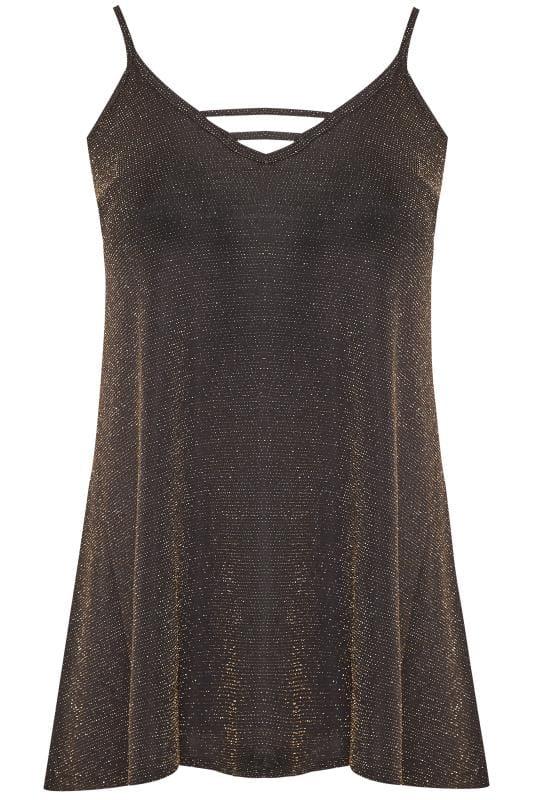 Plus Size Party Tops Black & Gold Textured Metallic Cami Top