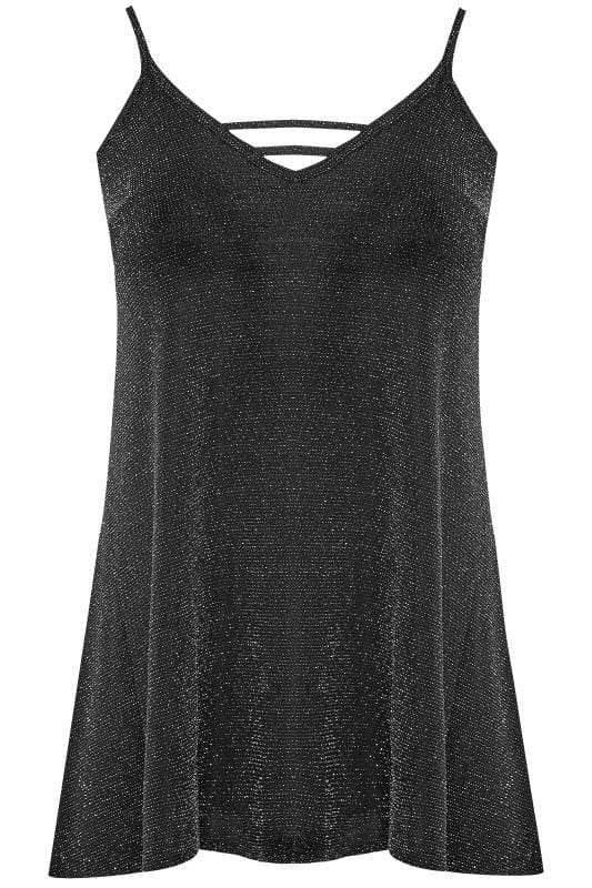 Plus Size Party Tops Silver & Black Textured Metallic Cami Top