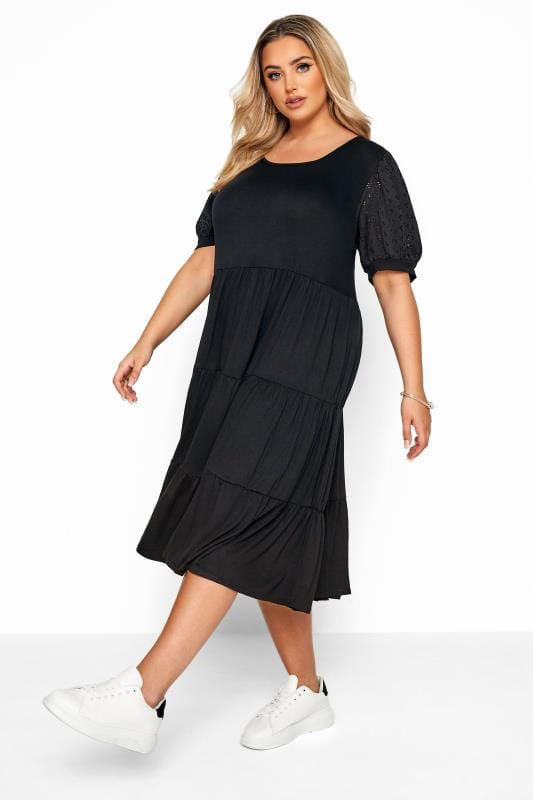 Black Dresses Black Broderie Anglaise Sleeve Tiered Smock Midi Dress