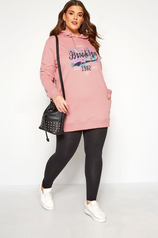 Plus Size Hoodies & Jackets Blush Pink 'Brooklyn' Slogan Hoodie