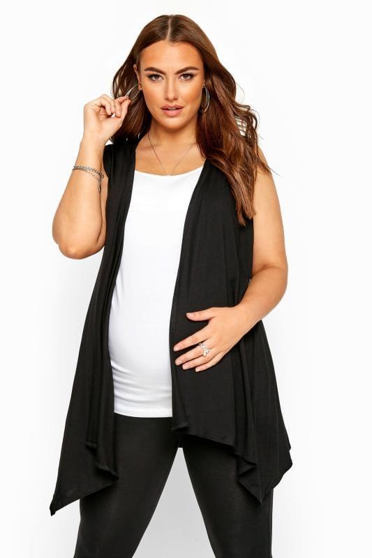 Plus Size Maternity Cardigans & Shrugs BUMP IT UP Black Longline Sleeveless Waterfall Wrap