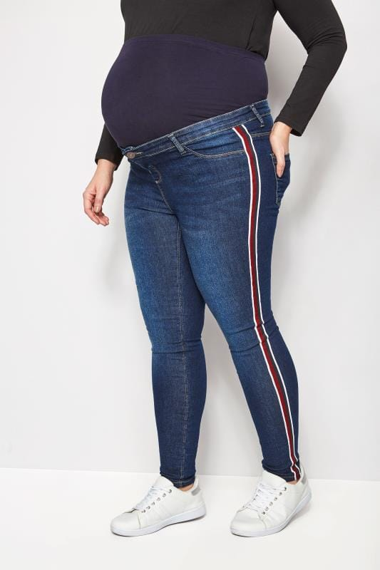 Plus Size Maternity Jeans & Jeggings BUMP IT UP MATERNITY Blue Super Stretch Denim Jeans With Sport Stripes