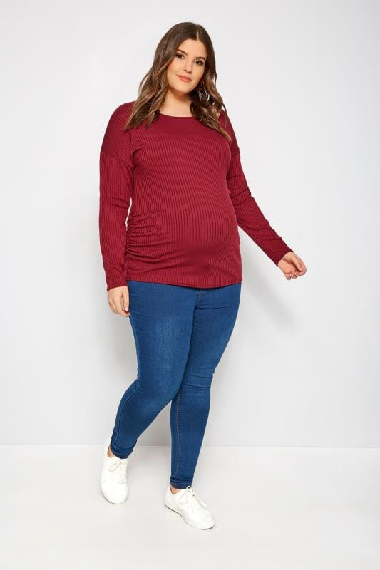 Plus Size Maternity Jeans & Jeggings BUMP IT UP Indigo Blue Super Stretch Skinny Jeggings With Comfort Panel