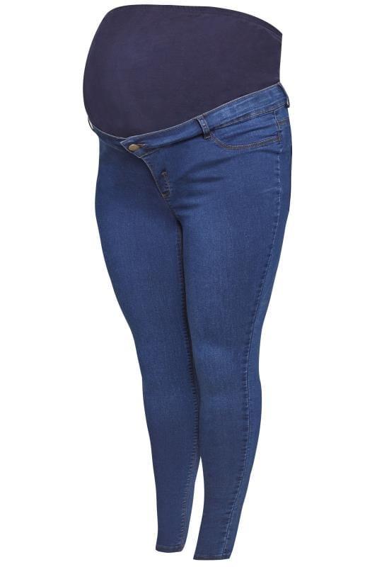 BUMP IT UP Umstandsmode - Skinny Jeggings mit Bauchband - Blau