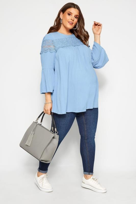 Plus Size Maternity Tops & T-Shirts BUMP IT UP MATERNITY Baby Blue Crochet Lace Insert Top