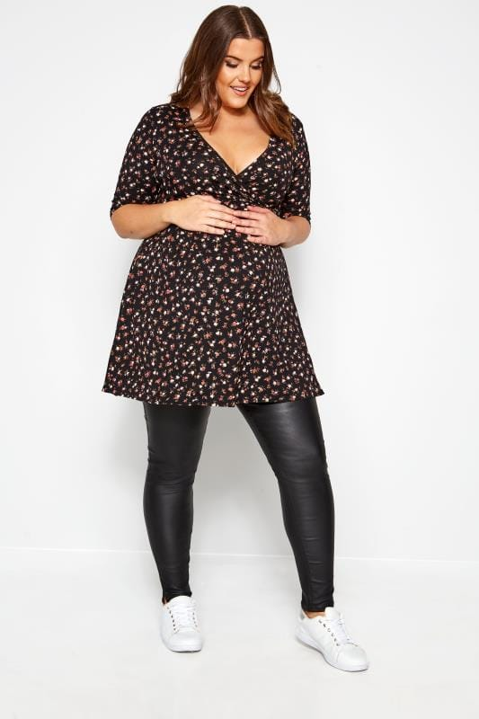 Plus Size Maternity Jeans & Jeggings BUMP IT UP MATERNITY Black Coated Jeggings