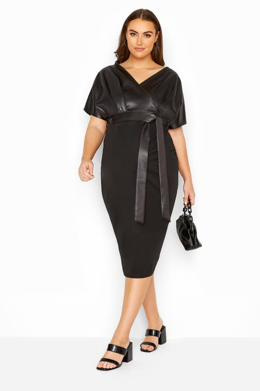 Plus Size  BUMP IT UP MATERNITY Black Contrast Wrap Dress