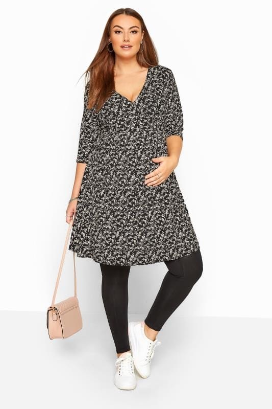 BUMP IT UP MATERNITY Black & Cream Ditsy Floral Wrap Tunic