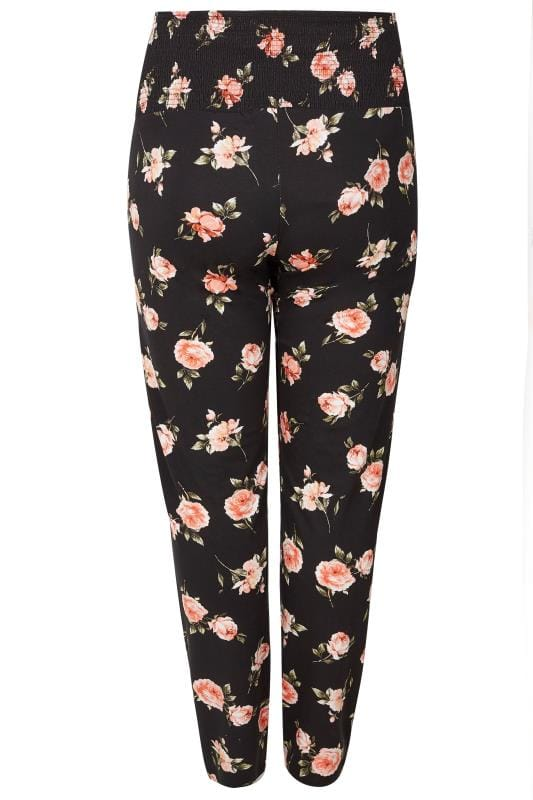 BUMP IT UP MATERNITY Black Floral Harem Trousers With Comfort Panel