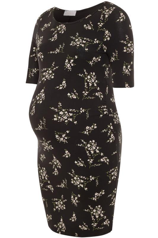 Plus Size Maternity Dresses BUMP IT UP MATERNITY Black Floral Midi Dress