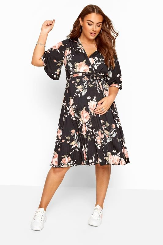 BUMP IT UP MATERNITY Black Floral Pleated Wrap Dress