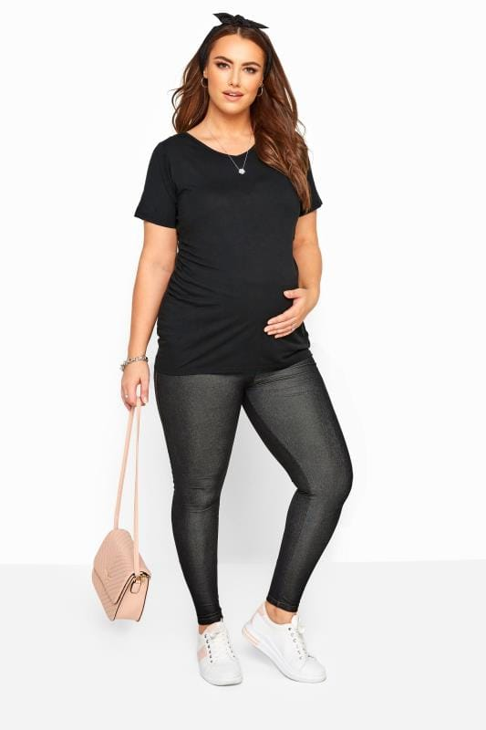 Maternity Jeans & Jeggings Tallas Grandes BUMP IT UP MATERNITY Black Jeggings With Comfort Panel