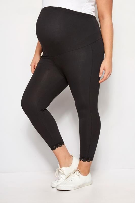 Plus-Größen Maternity Leggings BUMP IT UP MATERNITY Black Lace Trim Crop Leggings