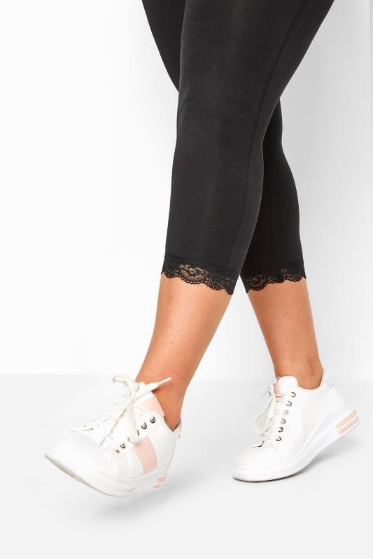 BUMP IT UP MATERNITY Black Lace Trim Crop Leggings