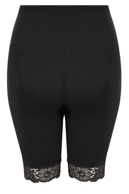 BUMP IT UP MATERNITY Black Legging Shorts With Lace Trim