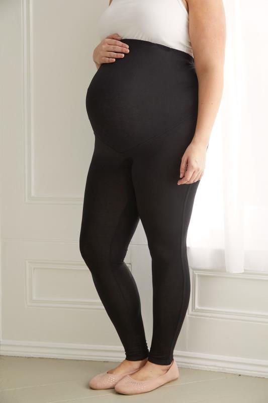 BUMP IT UP MATERNITY Schwarze weiche Leggings mit elasischem Bauchband