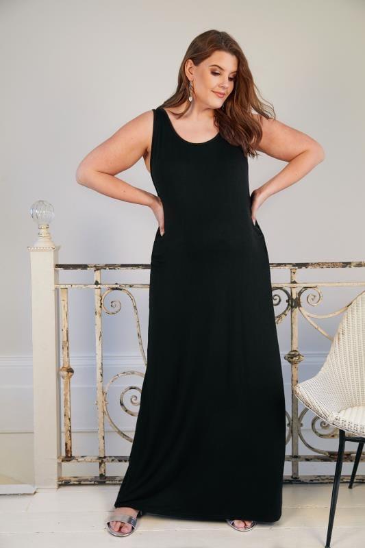 Bump It Up Maternity Vestido Negro Largo Con Laterales Fruncidos Tallas Grandes 44 A 64