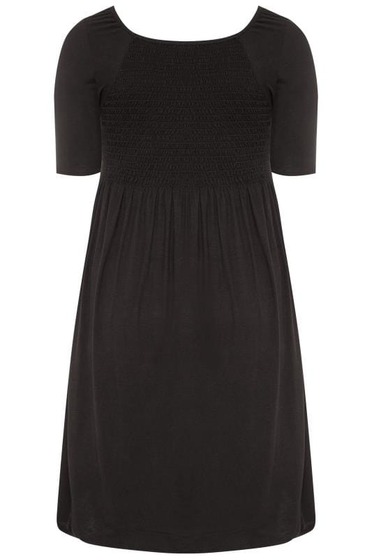 BUMP IT UP MATERNITY Black Shirred Dress
