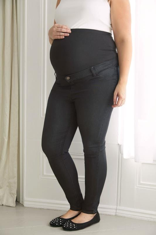 Plus Size Maternity Jeans & Jeggings BUMP IT UP MATERNITY Black Super Stretch Skinny Jeggings With Comfort Panel