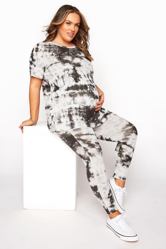 BUMP IT UP MATERNITY Black Tie Dye T-Shirt and Cropped Legging Set_22ab.jpg