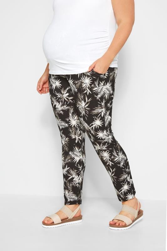 Plus Size Maternity Pants BUMP IT UP MATERNITY Black Tropical Harem Trousers