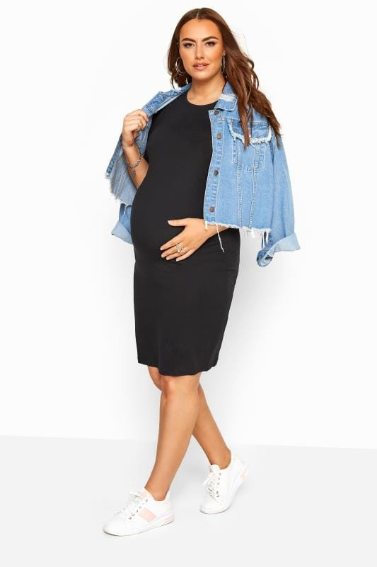 BUMP IT UP MATERNITY Black Tube Midi Dress