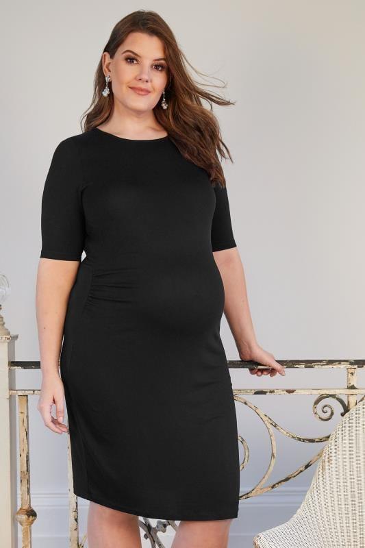 Plus Size Maternity Dresses BUMP IT UP MATERNITY Black Tube Midi Dress