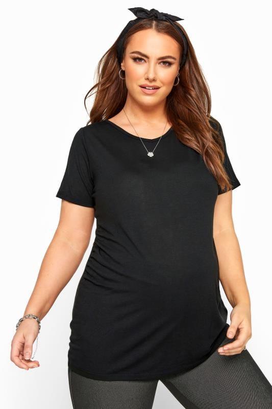 Plus Size Maternity Tops & T-Shirts BUMP IT UP MATERNITY Black V-Neck T-Shirt