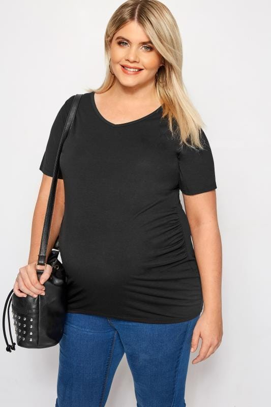Plus Size Maternity Tops & T-Shirts BUMP IT UP MATERNITY Black V-Neck T-Shirt