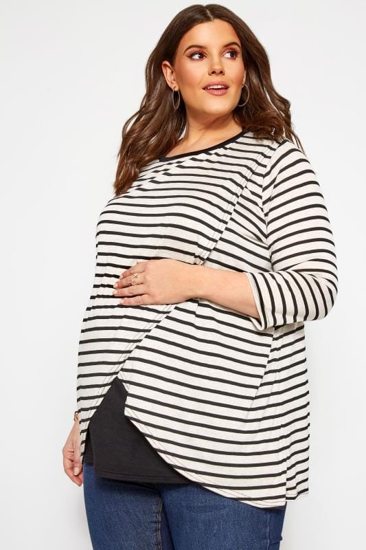 Plus-Größen Nursing BUMP IT UP MATERNITY Black & White Stripe Nursing Top