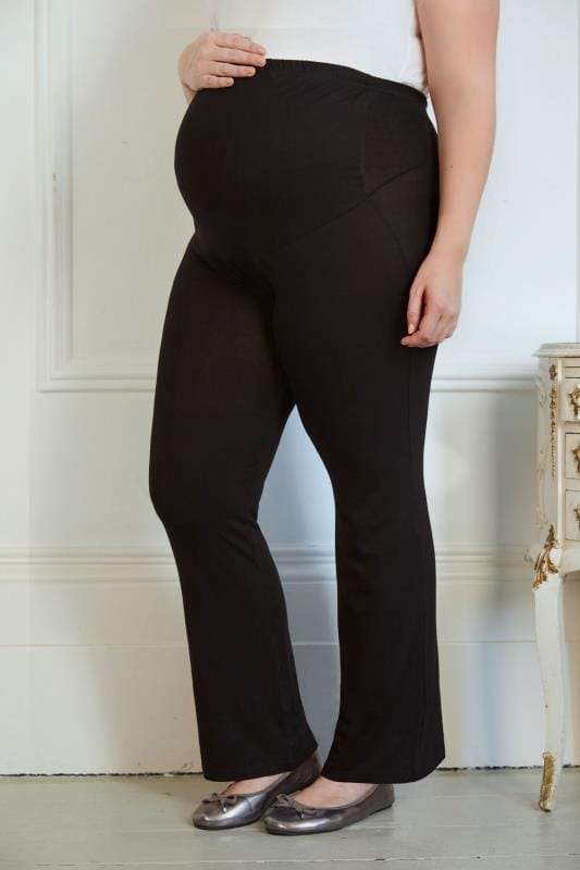 Plus Size Maternity Trousers BUMP IT UP MATERNITY Black Yoga Pants With Control Panel