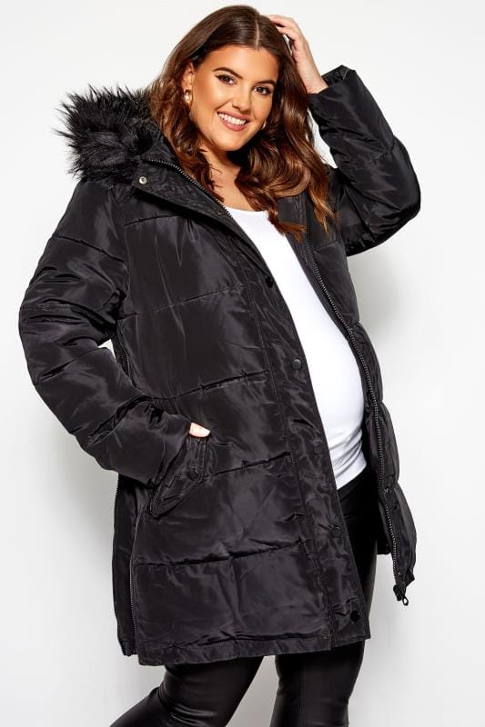 Plus Size Puffer & Quilted Jackets BUMP IT UP MATERNITY Black Zip Up Puffer Coat
