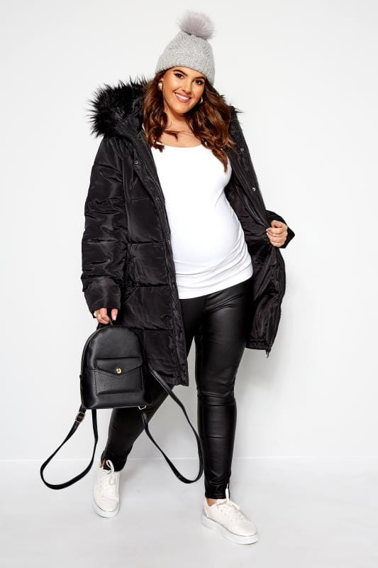 BUMP IT UP MATERNITY Black Zip Up Puffer Coat | Sizes 16 32