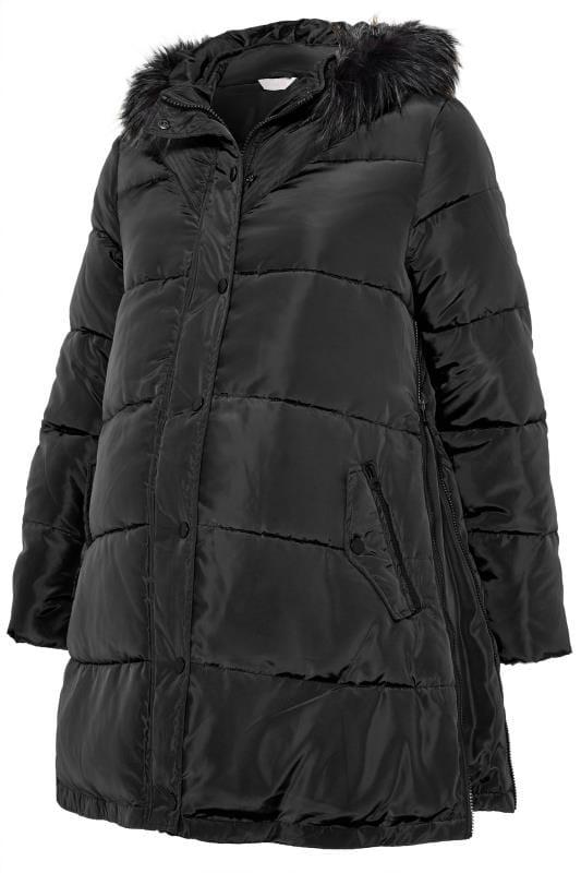 BUMP IT UP MATERNITY Black Zip Up Puffer Coat