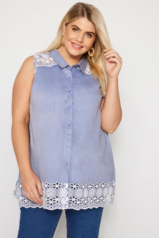 BUMP IT UP MATERNITY Blue Chambray Embroidered Shirt