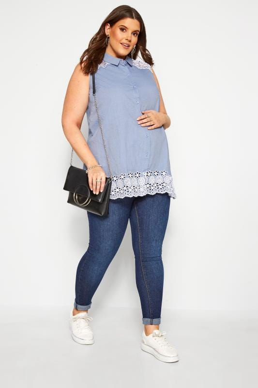 Plus Size Maternity Tops & T-Shirts BUMP IT UP MATERNITY Blue Chambray Embroidered Shirt