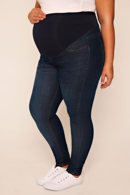 Plus Size Maternity Jeans & Jeggings BUMP IT UP MATERNITY Blue Denim Super Stretch Skinny Jeans With Comfort Panel